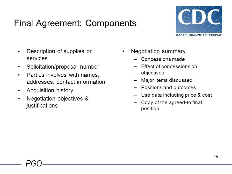 Final Agreement: Components