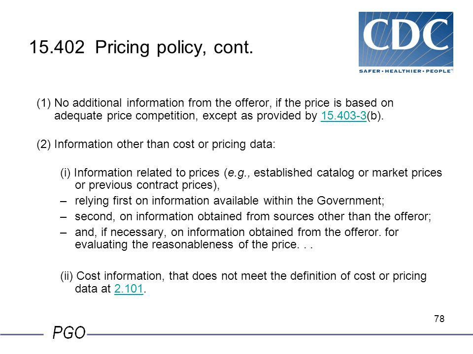 15.402 Pricing policy, cont.
