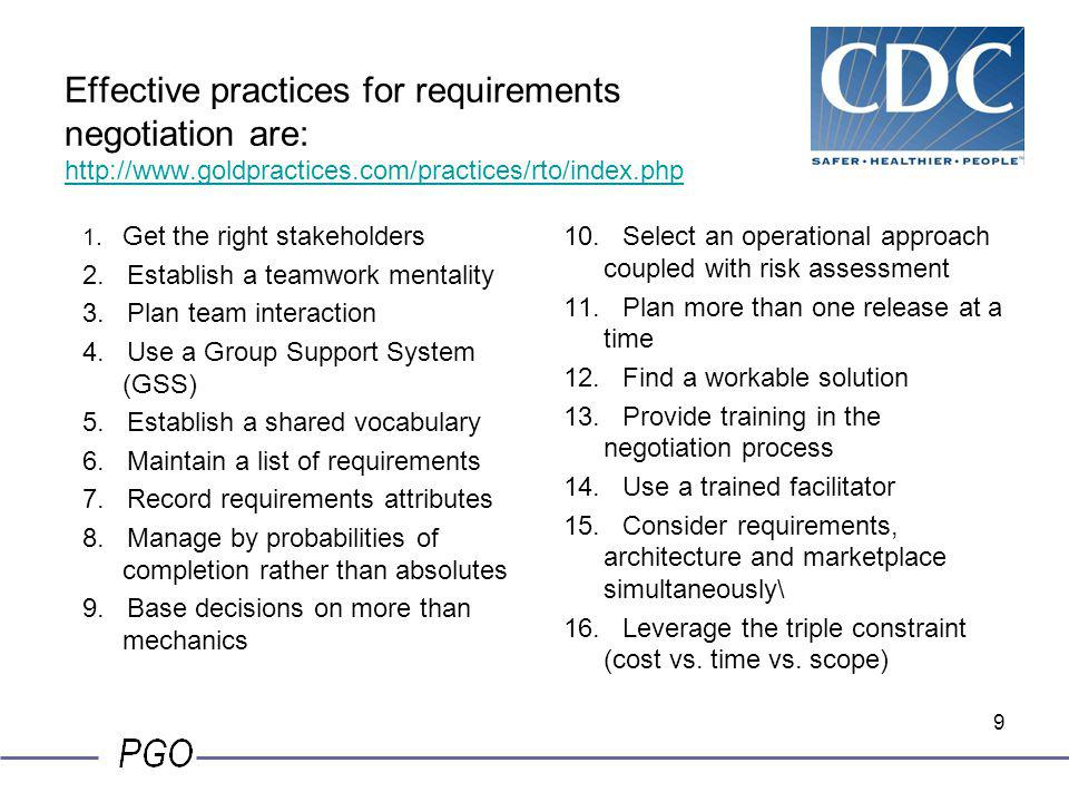 Effective practices for requirements negotiation are: http://www