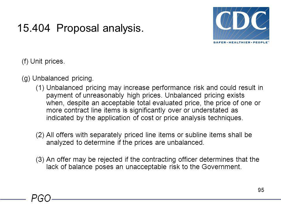 15.404 Proposal analysis. (f) Unit prices. (g) Unbalanced pricing.