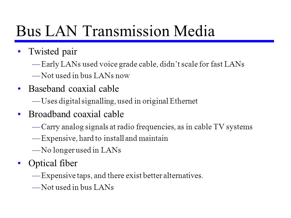 Bus LAN Transmission Media