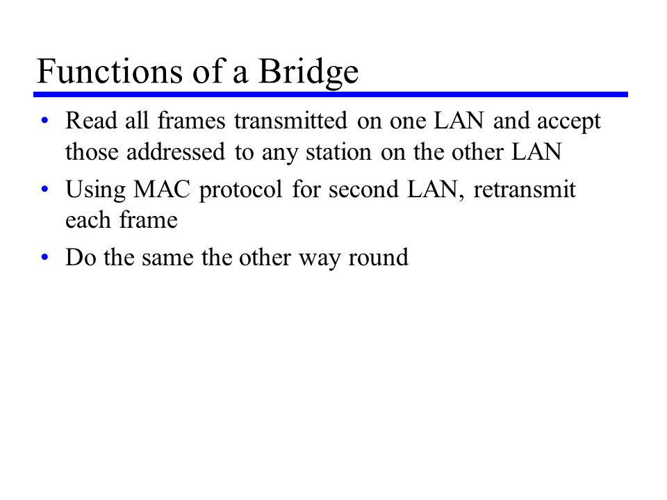 Functions of a Bridge Read all frames transmitted on one LAN and accept those addressed to any station on the other LAN.