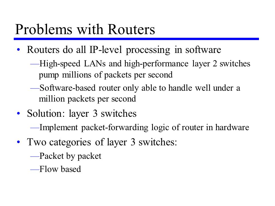 Problems with Routers Routers do all IP-level processing in software