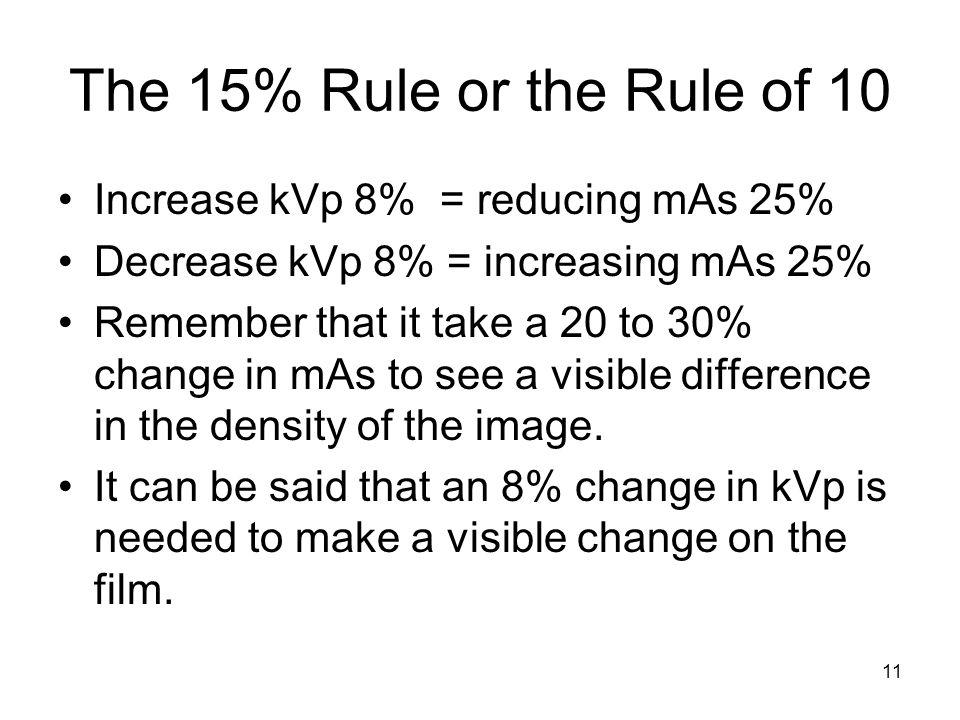 The 15% Rule or the Rule of 10 Increase kVp 8% = reducing mAs 25%