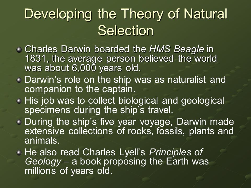 Developing the Theory of Natural Selection