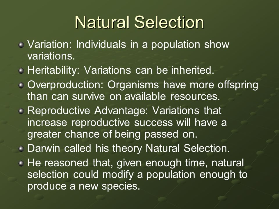 Natural Selection Variation: Individuals in a population show variations. Heritability: Variations can be inherited.