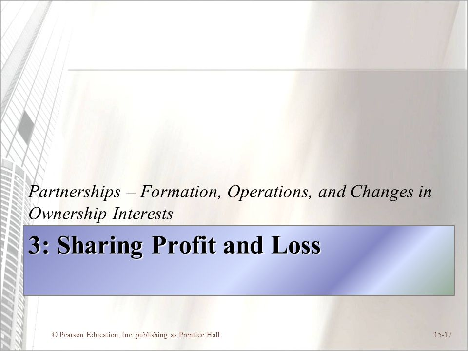 3: Sharing Profit and Loss