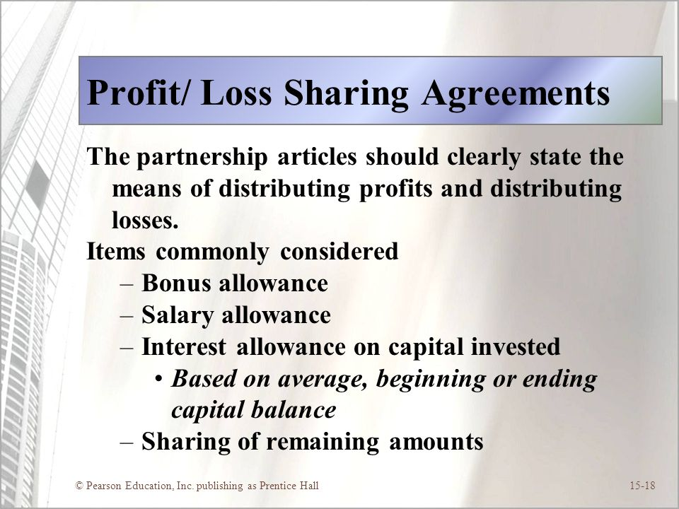 Profit/ Loss Sharing Agreements