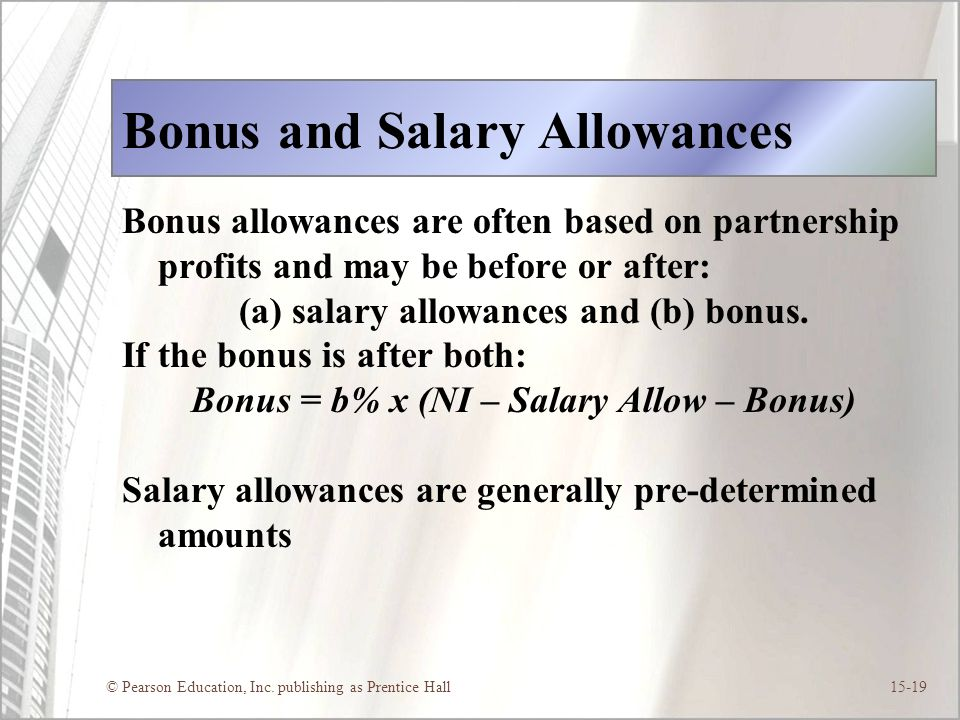 Bonus and Salary Allowances