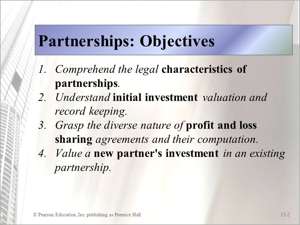 Partnerships: Objectives