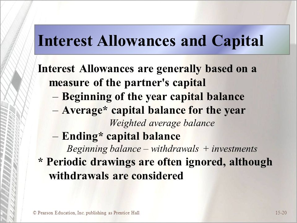 Interest Allowances and Capital