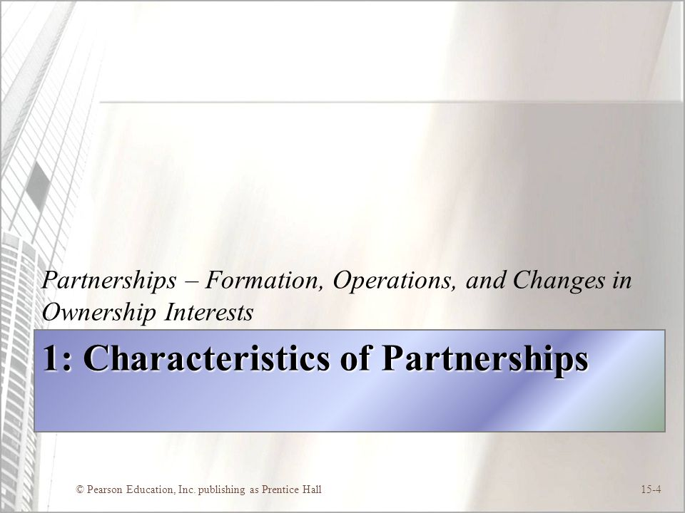 1: Characteristics of Partnerships