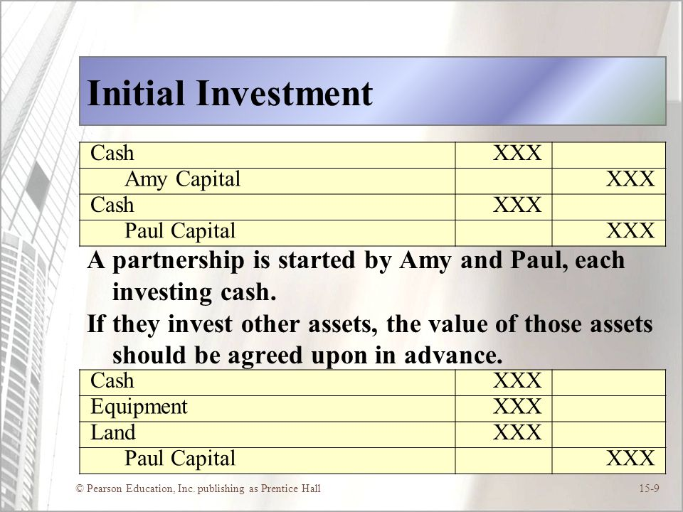 Initial Investment Cash. XXX. Amy Capital. Paul Capital. A partnership is started by Amy and Paul, each investing cash.