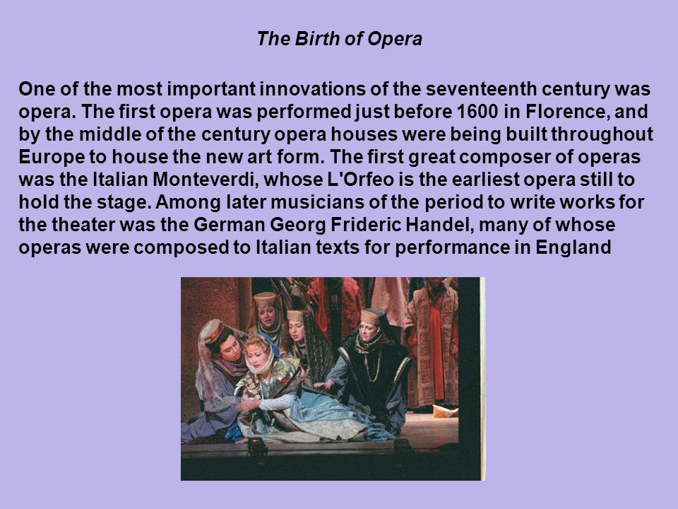 History of Opera in Italy to the 17th Century
