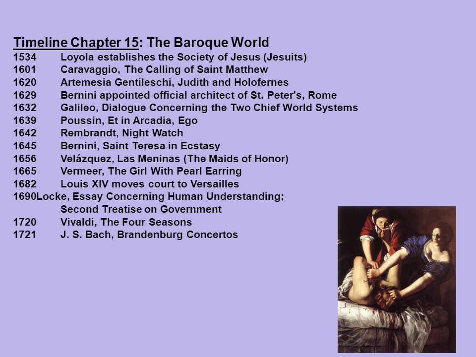 Timeline Chapter 15: The Baroque World