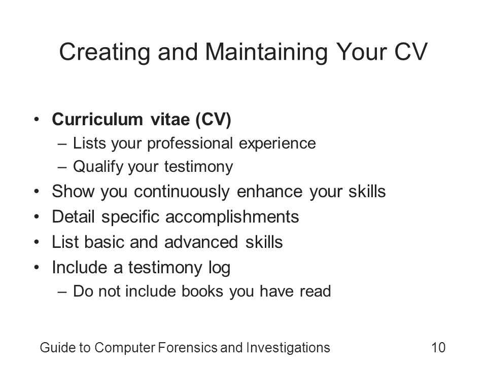 Creating and Maintaining Your CV