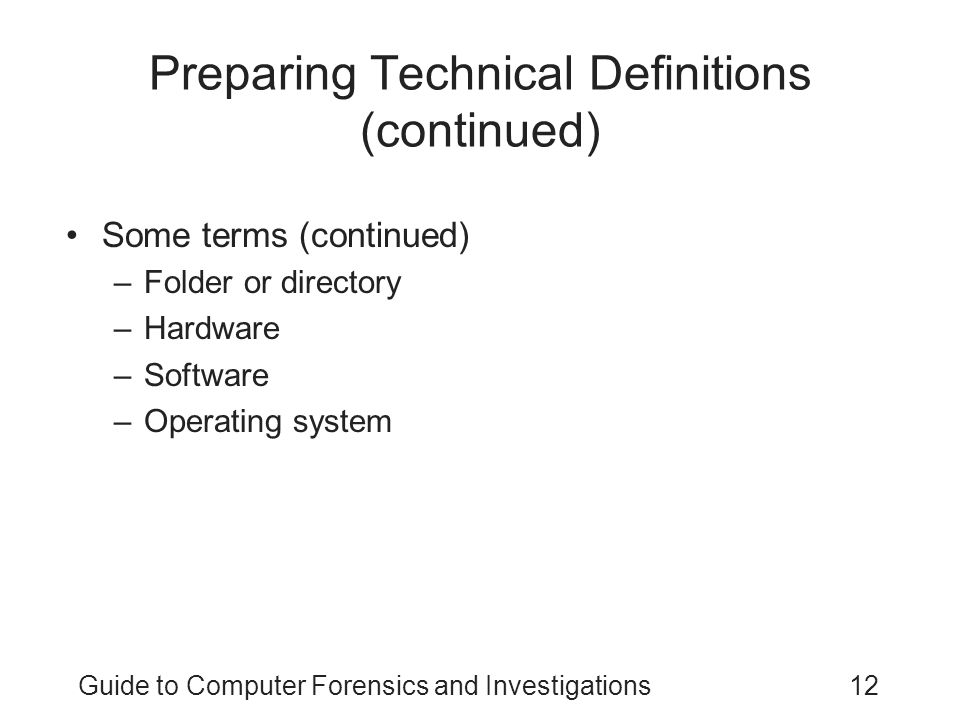 Preparing Technical Definitions (continued)
