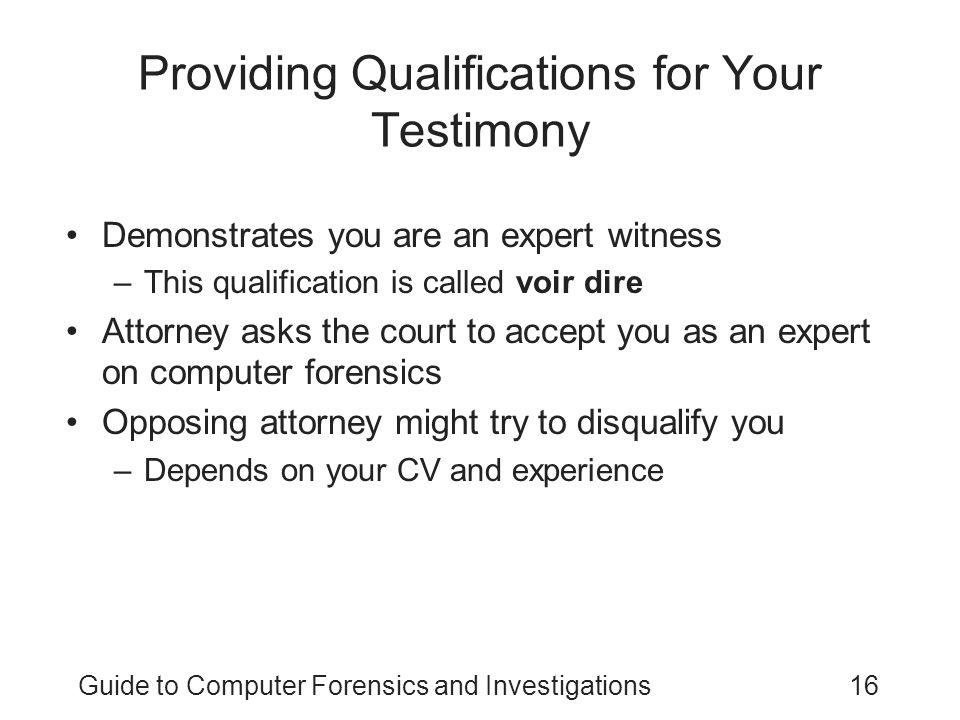 Providing Qualifications for Your Testimony