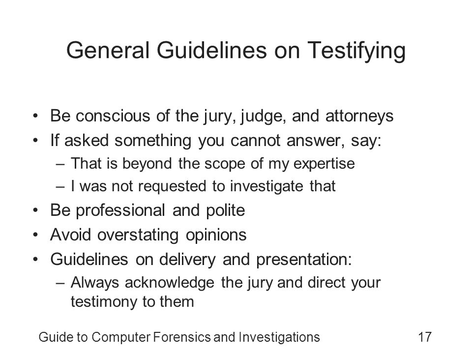 General Guidelines on Testifying