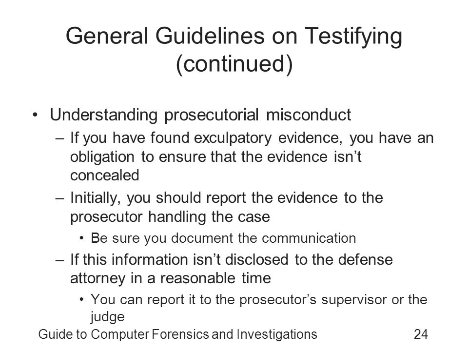 General Guidelines on Testifying (continued)