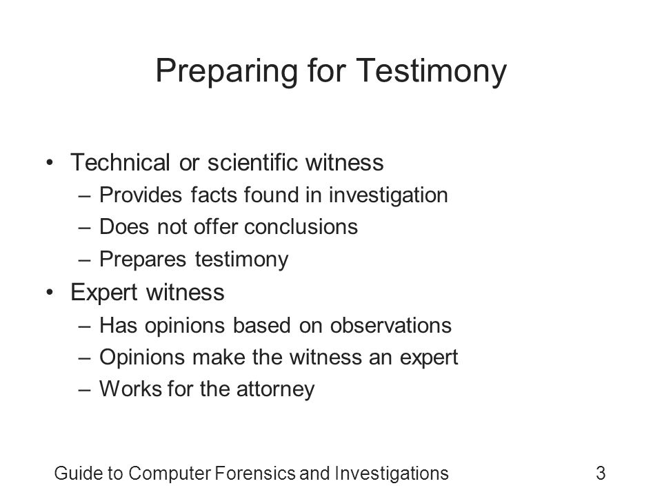 Preparing for Testimony