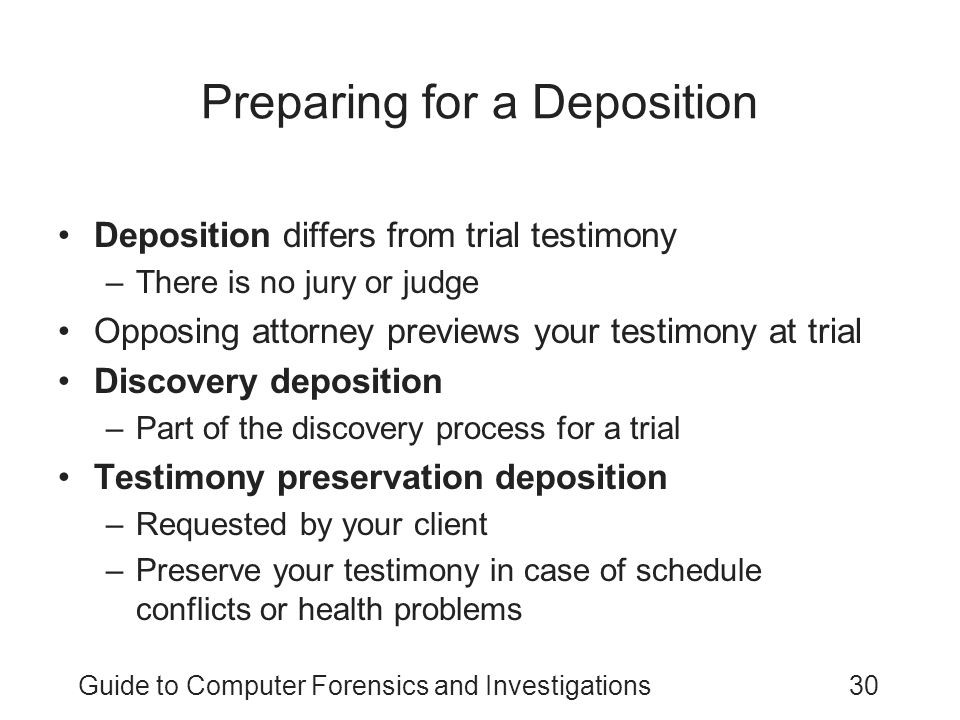 Preparing for a Deposition