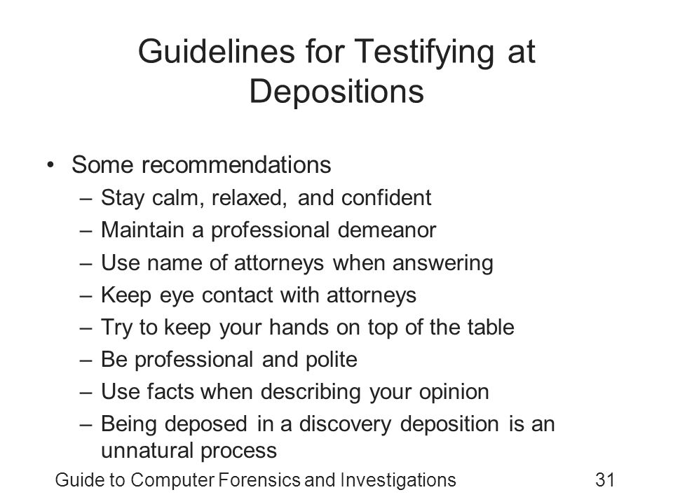 Guidelines for Testifying at Depositions