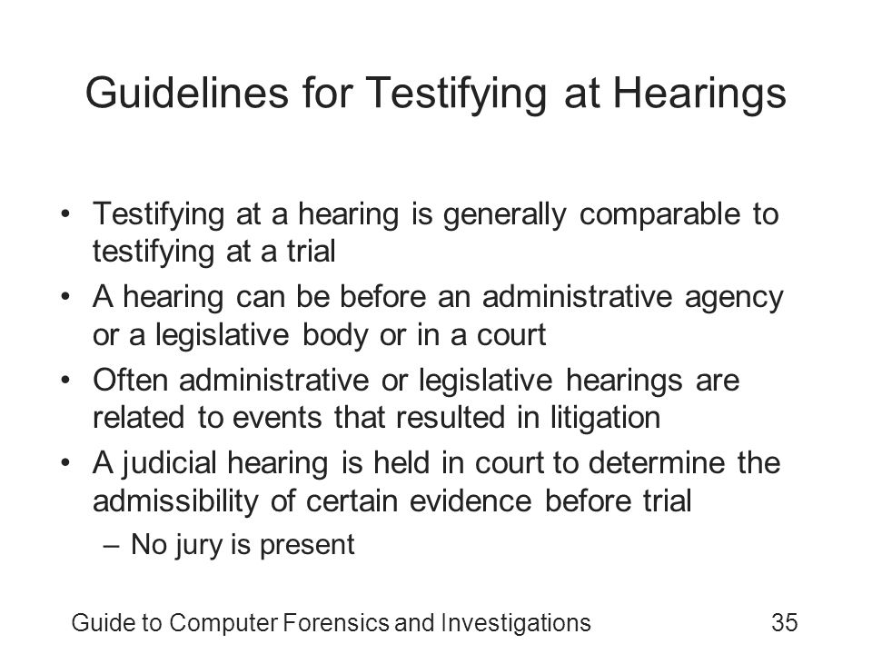 Guidelines for Testifying at Hearings