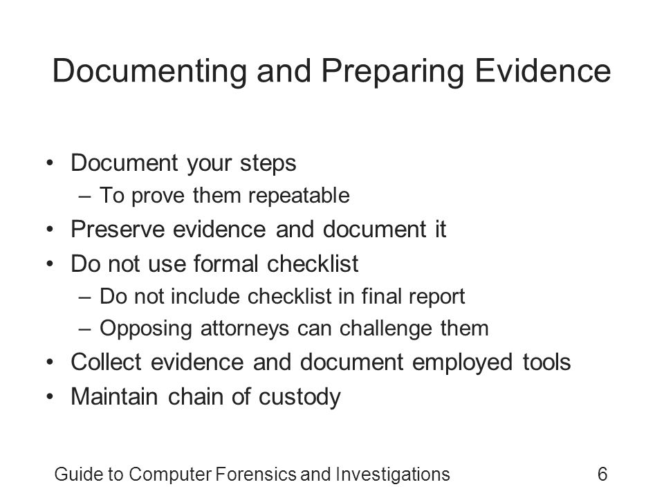 Documenting and Preparing Evidence