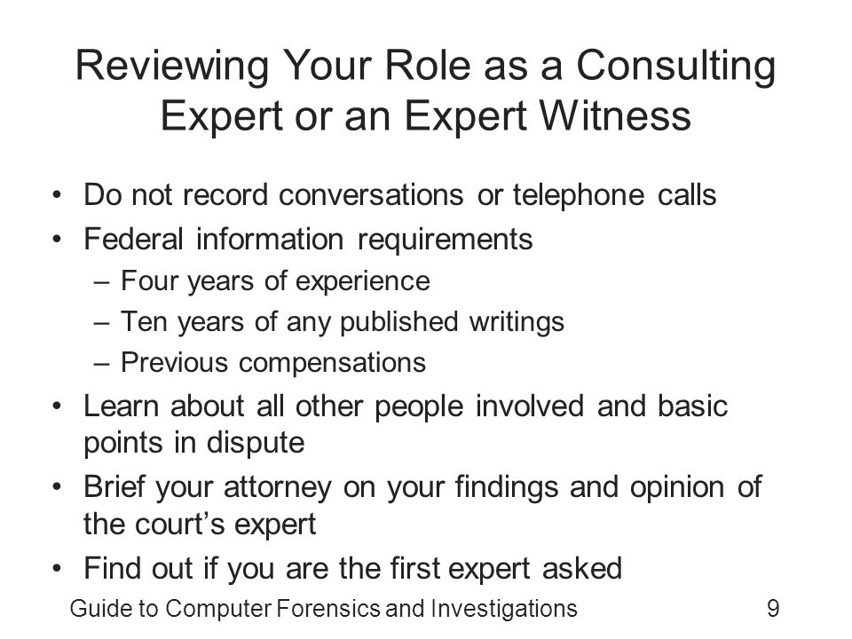 Reviewing Your Role as a Consulting Expert or an Expert Witness