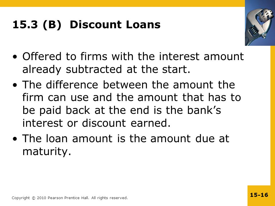 15.3 (B) Discount Loans Offered to firms with the interest amount already subtracted at the start.