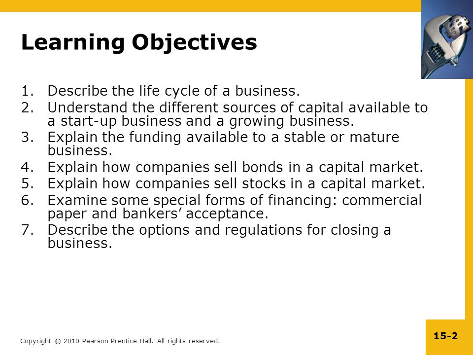 Learning Objectives Describe the life cycle of a business.