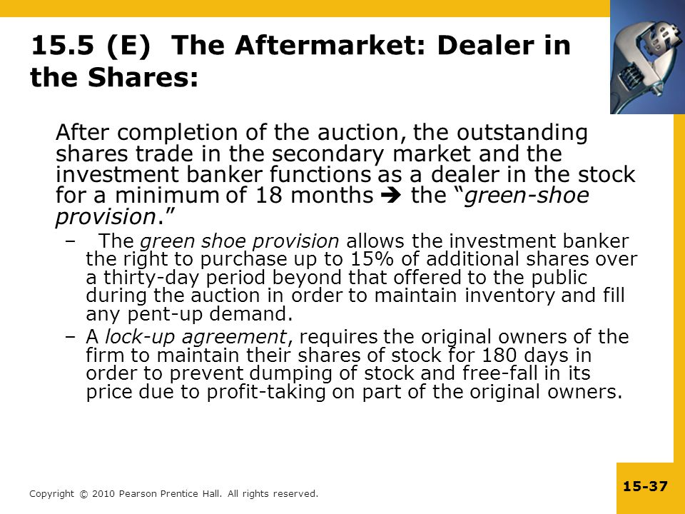15.5 (E) The Aftermarket: Dealer in the Shares: