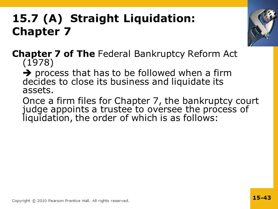 15.7 (A) Straight Liquidation: Chapter 7