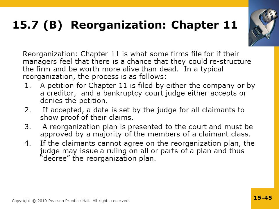 15.7 (B) Reorganization: Chapter 11