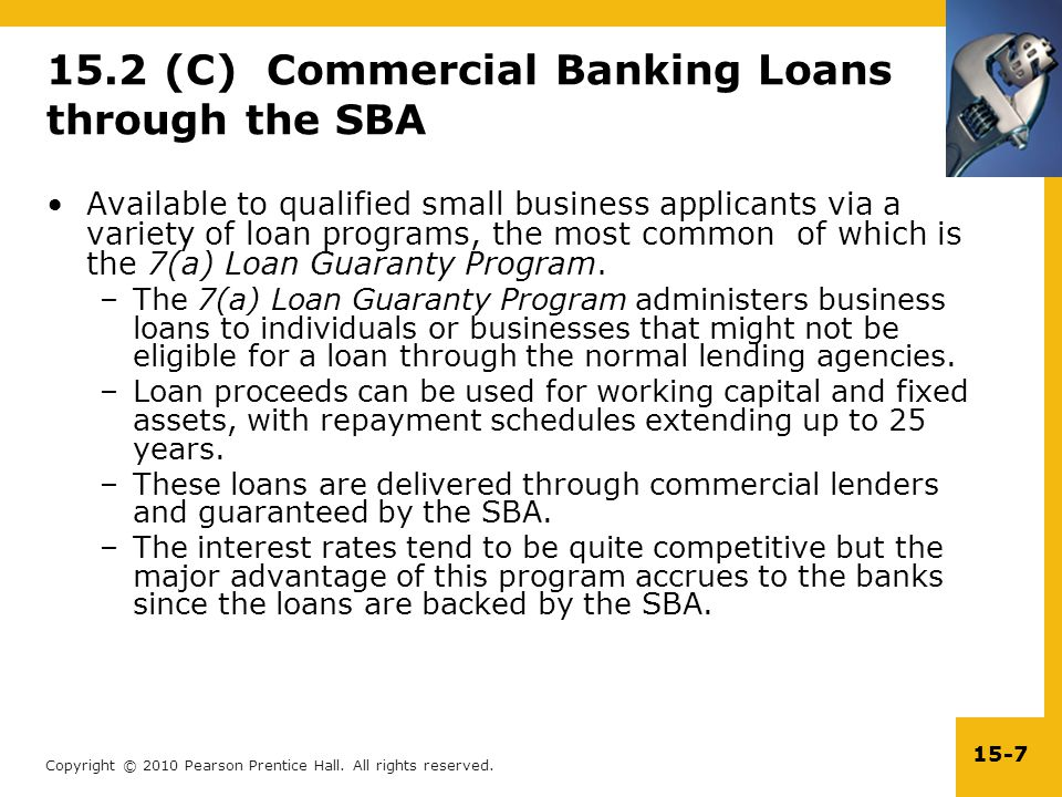 15.2 (C) Commercial Banking Loans through the SBA