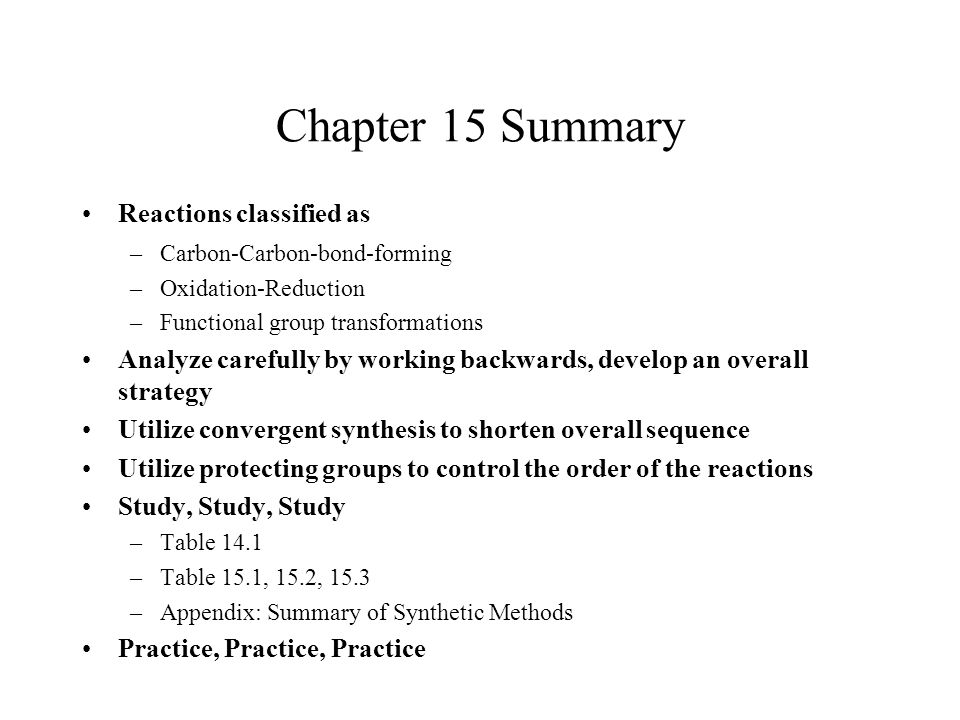 Chapter 15 Summary Reactions classified as