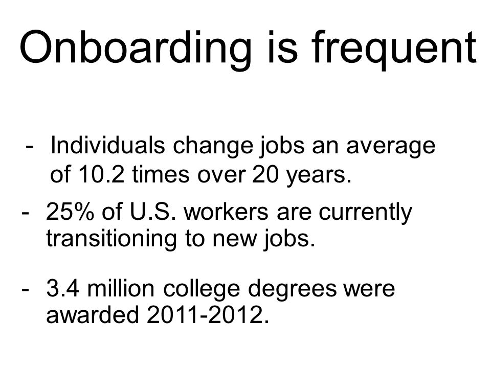 Onboarding is frequent