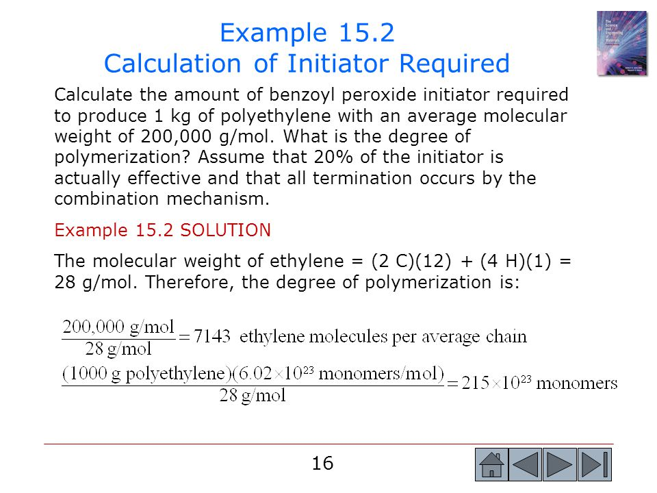 Example 15.2 Calculation of Initiator Required