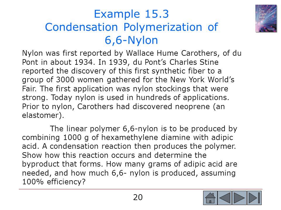 Example 15.3 Condensation Polymerization of 6,6-Nylon