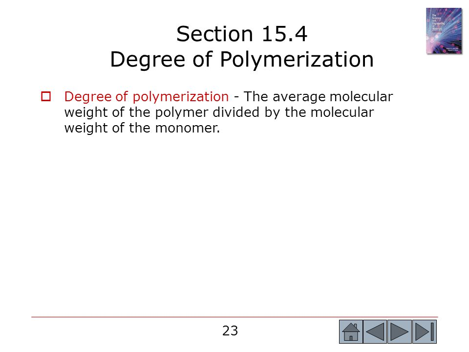 Section 15.4 Degree of Polymerization
