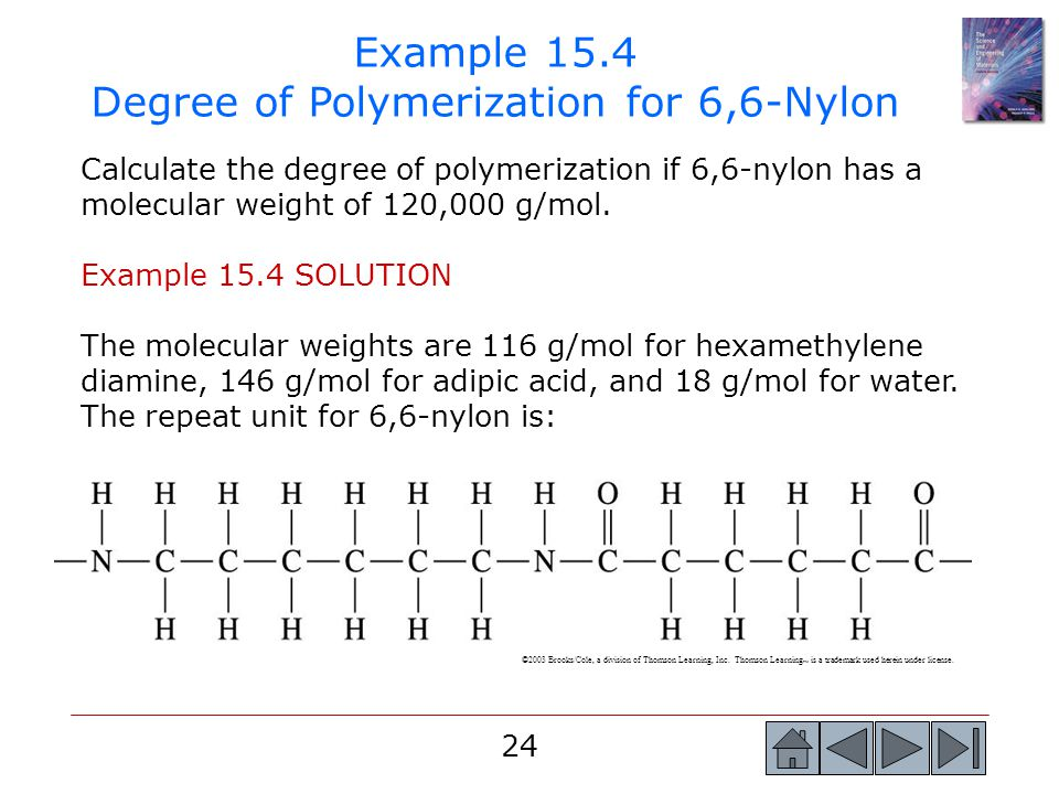 Example 15.4 Degree of Polymerization for 6,6-Nylon