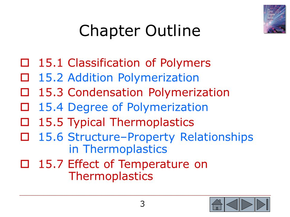 Chapter Outline 15.1 Classification of Polymers