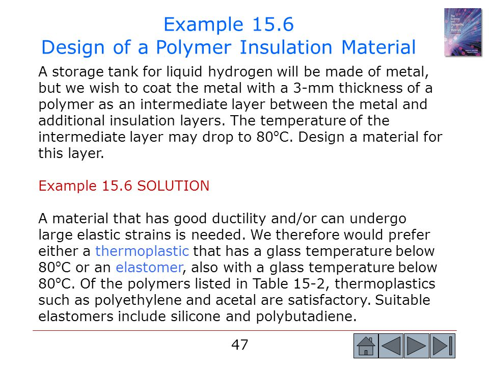 Example 15.6 Design of a Polymer Insulation Material