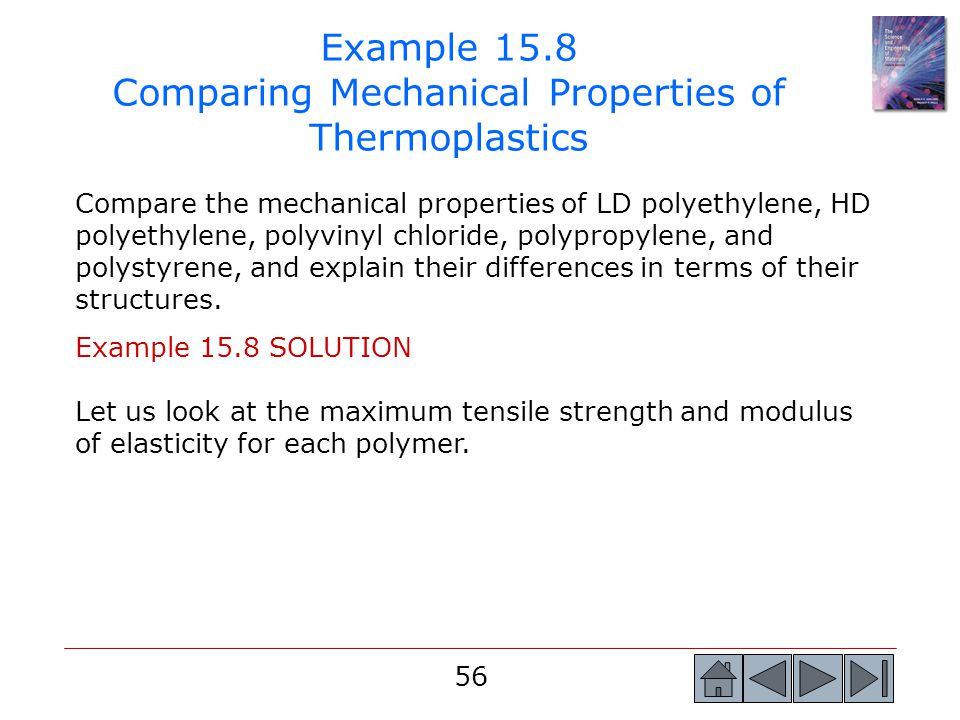 Example 15.8 Comparing Mechanical Properties of Thermoplastics