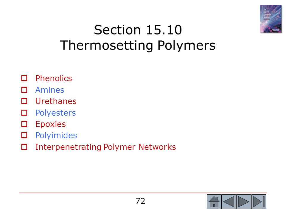 Section 15.10 Thermosetting Polymers