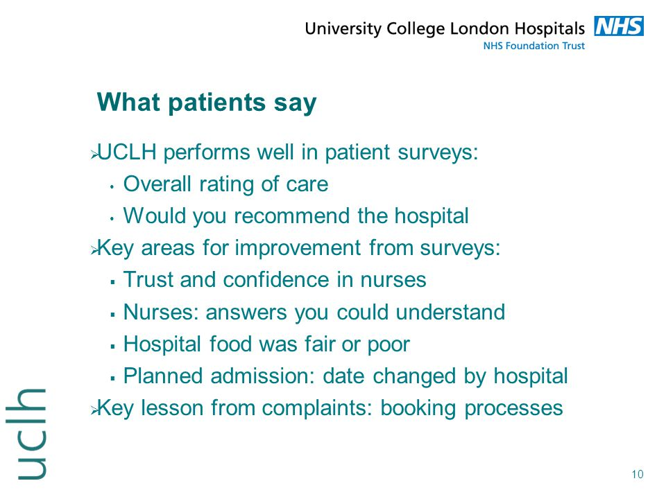 What patients say UCLH performs well in patient surveys: