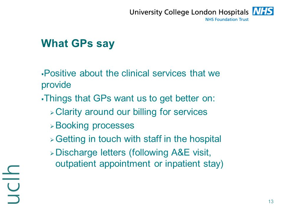 What GPs say Positive about the clinical services that we provide