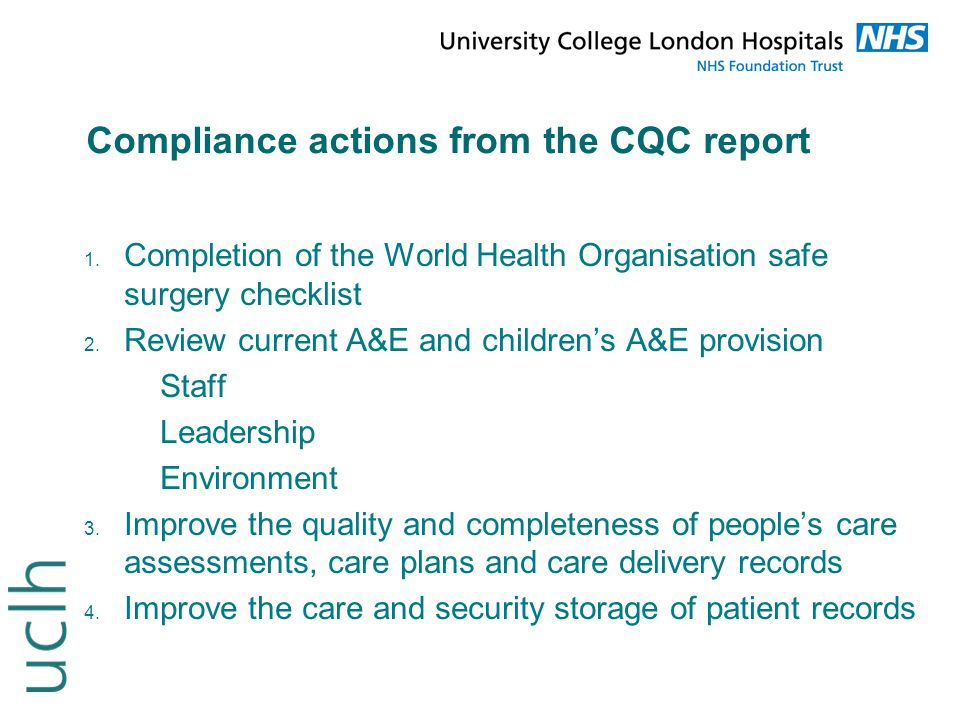 Compliance actions from the CQC report