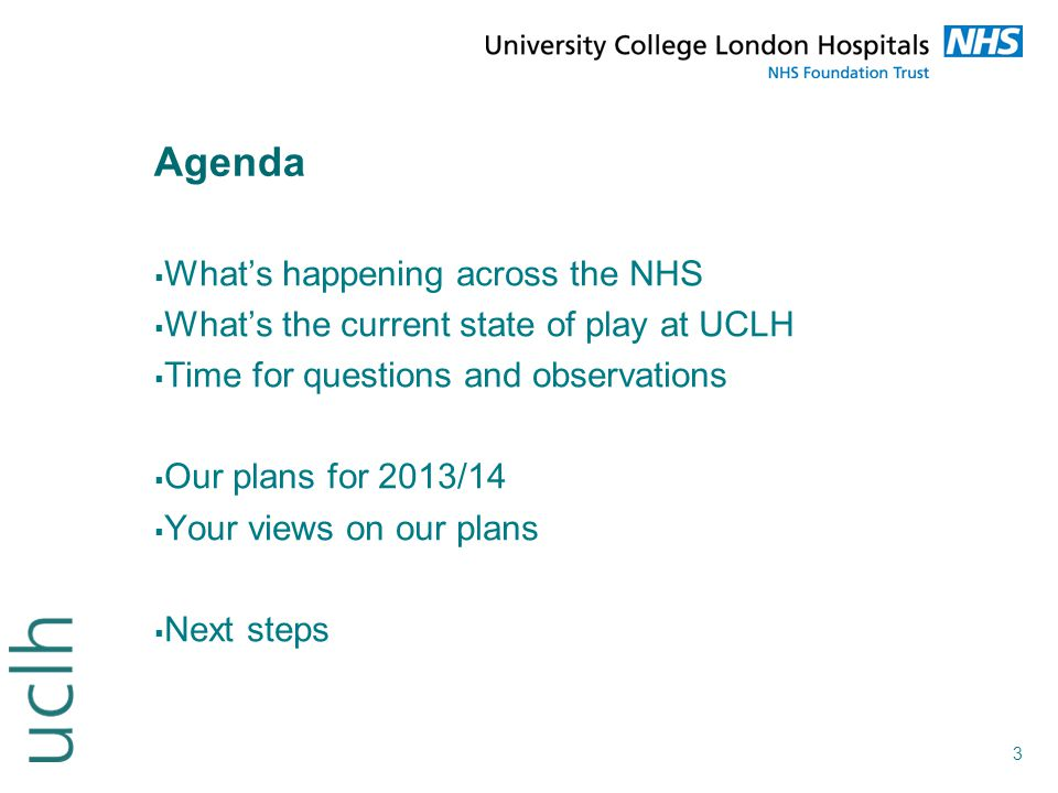 Agenda What's happening across the NHS